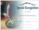 Photo Certificate of Special Recognition Achievement Awards