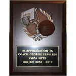 BASKETBALL 6 X 8 Coach Plaque with Wreath Sport Plaque Mount Coach